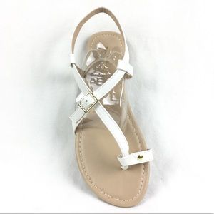 Criss Cross White sandals buckle closure 